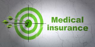 Insurance concept: target and Medical Insurance on wall background Stock Photos