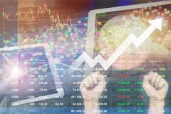Success investment on worldwide Stock market index  with vivid o Stock Photo