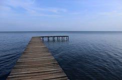 Success Isn`t a Straight Line - Wooden Boardwalk over Sea Stock Photos