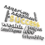 Success and its Many Meanings. The word success and the many ways people define it Stock Photos