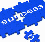 Success Jigsaw Shows Achievement Of Solution Stock Photo