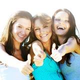 Success joy. Of girlfriends say hurray Royalty Free Stock Photography