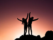 Success and joy silhouette Stock Image