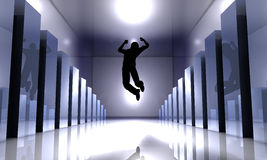 Success Jump. 3D rendered Illustration. Jumping inbetween growing Charts Royalty Free Stock Photo