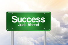 Success,Just Ahead Green Road Sign, Business Concept Stock Photo