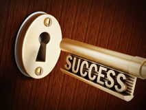 Success key. Above the golden keyhole Stock Image