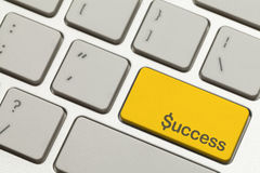 Success Key. Close Up of Gold Success Key Button on a Keyboard Stock Photos