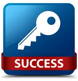 Success (key icon) blue square button red ribbon in middle Royalty Free Stock Images