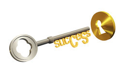 Success key and a keyhole. A key with success title and a keyhole, 3d rendered image Stock Image