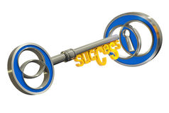 Success key and a keyhole. Key with success title and a keyhole, 3d rendered image Stock Photo