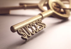 Success Key. The right key to success. Depth of field in the word success, focusing on just the dollar sign