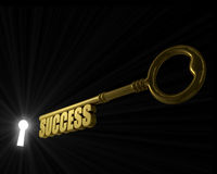 Success key. Key with word success pointed to the illuminated key hole concept image Stock Image