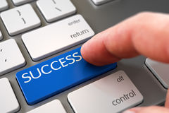 Success - Keyboard Key Concept. 3D. Finger Pressing on Slim Aluminum Keyboard Blue Button with Success Sign. 3D Royalty Free Stock Photo