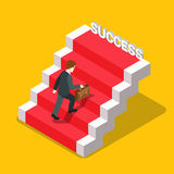 Success ladder business flat isometric vector 3d Royalty Free Stock Image