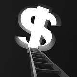 Success ladder to big dollar symbol hole. Business concept Royalty Free Stock Photo
