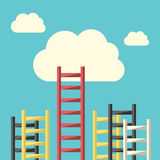 Success ladder to cloud Stock Photo