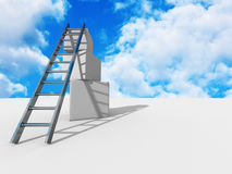 Success ladder on top of cubes. Sky backgeound. Business concept Stock Photos