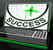 Success On Laptop Showing Successful Progress Royalty Free Stock Image