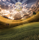 Success. Large silver dollar symbol over serene landscape Royalty Free Stock Photos