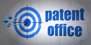 Law concept: target and Patent Office on wall background. Success law concept: arrows hitting the center of target, Blue Patent Office on wall background, 3D Stock Image