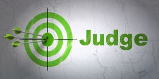 Law concept: target and Judge on wall background. Success law concept: arrows hitting the center of target, Green Judge on wall background, 3D rendering Royalty Free Stock Photography