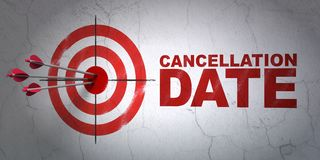 Law concept: target and Cancellation Date on wall background. Success law concept: arrows hitting the center of target, Red Cancellation Date on wall background Stock Image