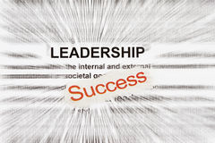 Success and leadership. Abstract in a word description radially blur Royalty Free Stock Photo