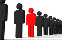 Success or leadership concept with red unique man. Figure Stock Photo