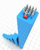 Success leadership and teamwork concept. Leader making speak to team of worker on top of a growing financial bar chart 3d illustration Royalty Free Stock Images