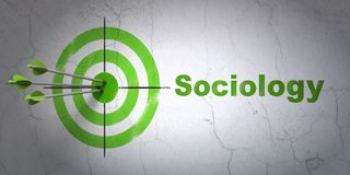 Learning concept: target and Sociology on wall background. Success Learning concept: arrows hitting the center of target, Green Sociology on wall background, 3D Royalty Free Stock Photography
