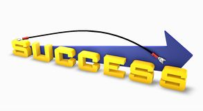 Success linked on up arrow Stock Photo