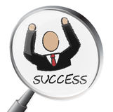 Success Magnifier Indicates Triumph Succeed And Winning Royalty Free Stock Images