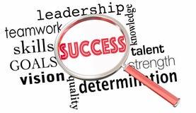 Success Magnifying Glass Words Teamwork Leadership 3d Illustrati. On Royalty Free Stock Photo