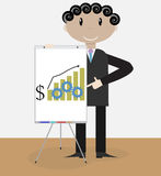 Success man presentation growth money. Businessman presentation chart, graph business, growth finance, financial concept, graphic billboard. Vector art Stock Image