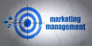 Marketing concept: target and Marketing Management on wall background. Success marketing concept: arrows hitting the center of target, Blue Marketing Management Royalty Free Stock Photos