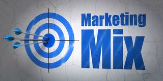 Marketing concept: target and Marketing Mix on wall background. Success marketing concept: arrows hitting the center of target, Blue Marketing Mix on wall stock images