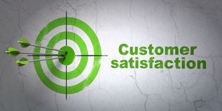 Marketing concept: target and Customer Satisfaction on wall background. Success marketing concept: arrows hitting the center of target, Green Customer Stock Image