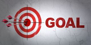 Marketing concept: target and Goal on wall background. Success marketing concept: arrows hitting the center of target, Red Goal on wall background, 3D rendering Royalty Free Stock Photography