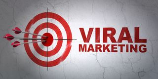 Marketing concept: target and Viral Marketing on wall background. Success marketing concept: arrows hitting the center of target, Red Viral Marketing on wall Stock Photography