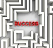 Success In Maze Showing Puzzle Achievement Stock Images
