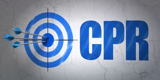 Medicine concept: target and CPR on wall background Stock Image