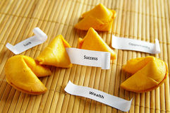 Success messages. Fortune cookies with opportunity, wealth, success messages Stock Image