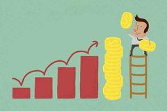 Success metaphor depicted with coins royalty free illustration