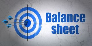 Money concept: target and Balance Sheet on wall background. Success money concept: arrows hitting the center of target, Blue Balance Sheet on wall background, 3D Royalty Free Stock Photos