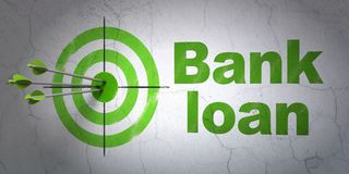 Money concept: target and Bank Loan on wall background. Success money concept: arrows hitting the center of target, Green Bank Loan on wall background, 3D Royalty Free Stock Photos