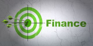 Money concept: target and Finance on wall background. Success money concept: arrows hitting the center of target, Green Finance on wall background, 3D rendering Royalty Free Stock Photos