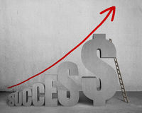 Success  with money symbol 3D word, ladder and growing arrow Royalty Free Stock Images
