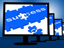 Success On Monitors Showing Progress Royalty Free Stock Photo