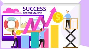 Success and motivation. Business team success flat poster. Ambition as climb graph or achievement of goal. Consulting a. Commercial column as a step for career royalty free illustration