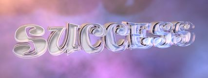 Success Motivation Concept. High quality and elegant success concept logo with colorful background and realistic glass/plastic and metal material vector illustration